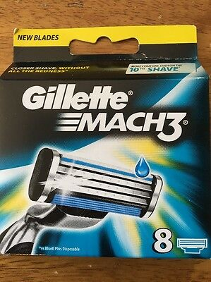 Gillette Mach3 8 PACK BLADES UK SELLER 100% Authentic! FREE POST