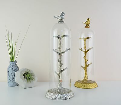 Bird Glass Dome Jewellery Display - Stand - Storage - Tree - Gold or Silver