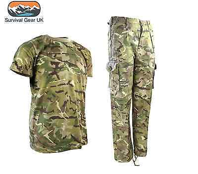 Boys Army Outfit Kids Trousers T-Shirt Btp Camo Military Dress Up Fancy Dress