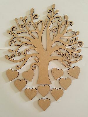 MDF Family Tree Lazer Cut Hearts Choice of Size Wedding Blank Shape Guestbook
