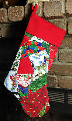 Hand Quilted Crazy Patch Patchwork Christmas Stocking, Hand Made in USA!