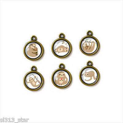6pcs of Handcrafted Glass Charms, Cute Sloth Illustration, G-038