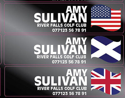 Personalised Golf Club Clear Decal Labels 42x12mm Any Flag & Name White Text