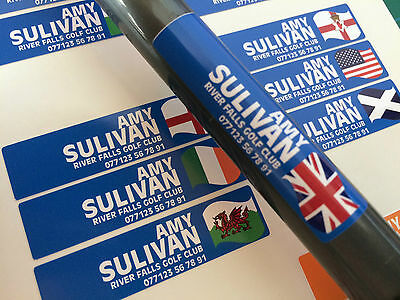 Personalised Golf Club Decal Labels 48x12mm Any Flag & Name- Various Colours