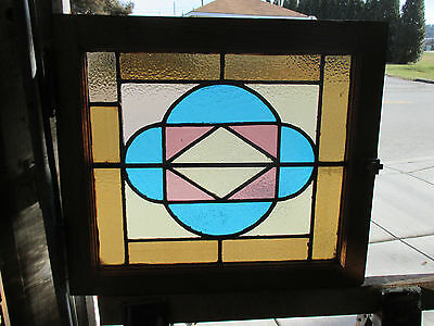 ANTIQUE AMERICAN STAINED GLASS WINDOW 24 x 21 5 OF 8  ~ ARCHITECTURAL SALVAGE ~