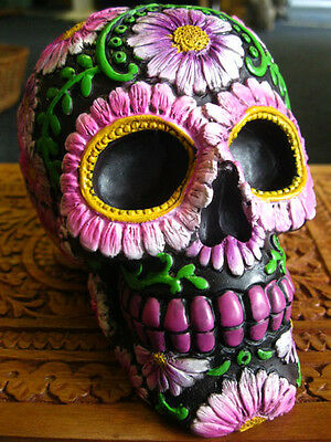 SUGAR PETAL SKULL FIGURE Ornament MEXICAN Day of the Dead GOTHIC Wiccan PAGAN