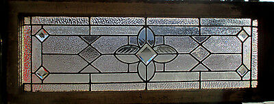 ANTIQUE AMERICAN STAINED GLASS TRANSOM WINDOW 43 x 16 1 OF 2 ~ SALVAGE ~