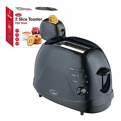 Quest 2 Slice 700W Easy Clean | Non Stick | Toaster | Black Defrost Function