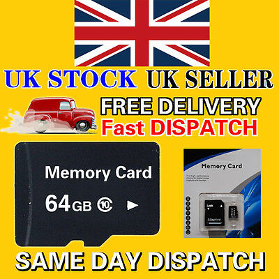64GB Class 10 Micro SD Memory Card with Retail Package and Free Adapter from UK
