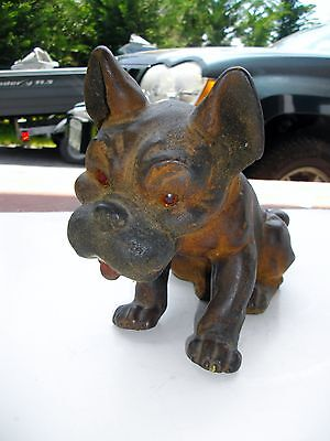 Antique Vintage Bulldog Bobblehead Celluloid Covered In Leather ?