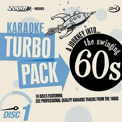 ZOOM KARAOKE CDG     60s HITS TURBO PACK  262 TOP TRACKS ON 10 DISCS    NEW