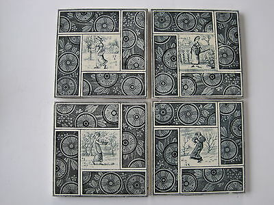 "ANTIQUE VICTORIAN KATE GREENAWAY  ""SEASONS""  SET OF 4 WALL TILES  c1880"