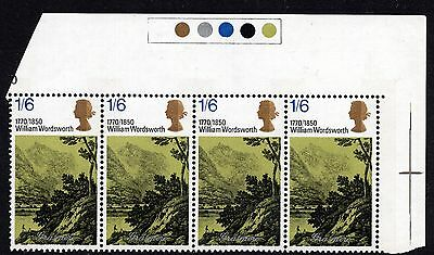 1970 1/6d SG828 Literary Anniversaries Retouch Slope Spec W191g Unmounted Mint