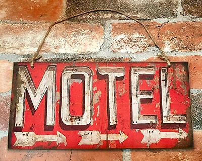"MOTEL Vintage Hanging Wood Directional Sign, 6"" x 12"""