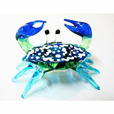 Collectible Figurines Handcrafted MINIATURE HAND BLOWN GLASS Small Blue Crab New