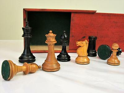 ANTIQUE ENGLISH  WEIGHTED CHESSMEN SET NON JAQUES STAUNTON PATTERN K 90 mm +BOX