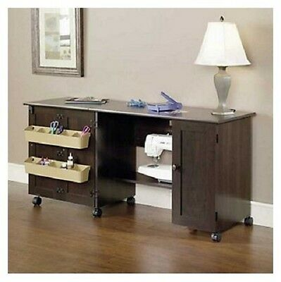 Sewing Machine Rolling Cart Portable Craft Table With Wheels Sauder Cabinet NEW