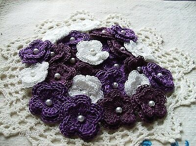 Crochet Flower Embellishment Set of 25 in a Berry Mix