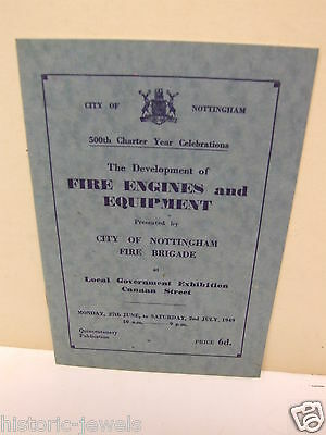 Nottingham Fire Brigade booklet 1949