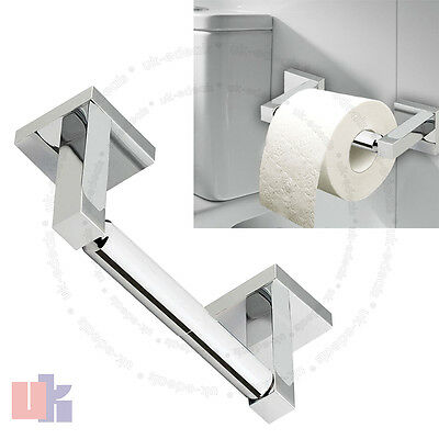 Wall Mounted Square Shine Chrome Finish Bathroom Bar Toilet Roll Holder UKED