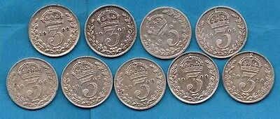 1902 -1910 Collection. 9 X Silver Threepence Coins. Edward Vii Complete Date Run