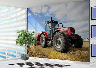 Red Tractor in the field Wallpaper wall mural art photo (10985815) Farming