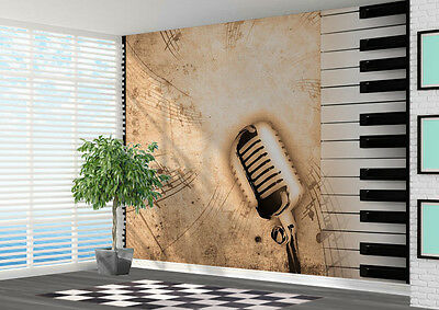 Piano microphone music notes Wallpaper wall mural art photo (11007628) Music