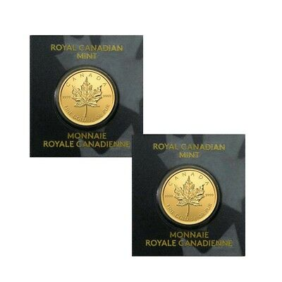 Lot of 2 - 2017 1 gram Canadian Gold Maples $.5 Coin .9999 Fine (From Individual