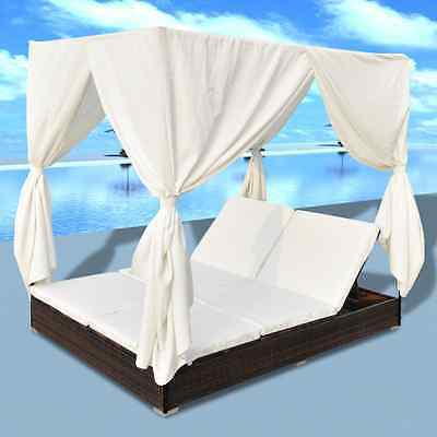 Brown Double Sun Loungers Cushion Bed Curtain Rattan Adjustable Garden Beds Pool