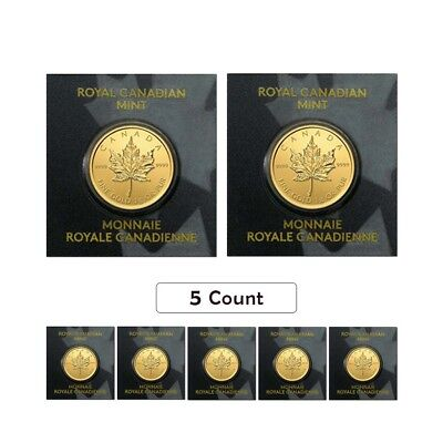 Lot of 5 - 2017 1 gram Canadian Gold Maples $.5 Coin .9999 Fine (From Individual