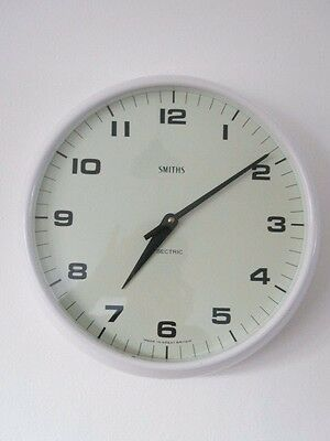 Vintage Large White Smiths Sectric 14 Inch Wall Clock