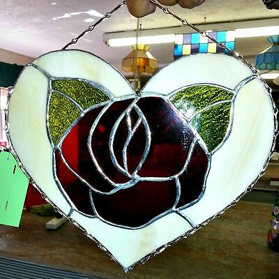 Stained Glass Red Rose Heart NEW Sun Catcher 10 W x 9T  think Valentine