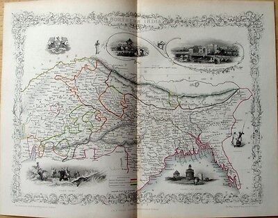 Fine 1851 Original Antique Tallis Map Of Northern India