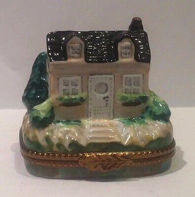 Limoges Trinket Box - Country House With Garden (Retired)