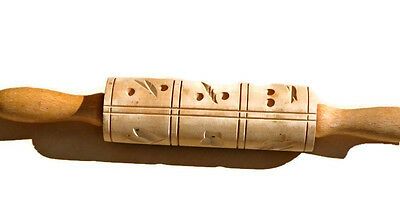 Vintage Wooden Rolling Pin Cookie Press Stamp Butterfly Flower Nature Animals