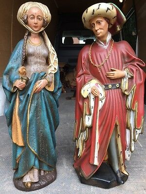 Antique Whimsical Statues Fairy Tale Story Design Prince and Princess Flemish