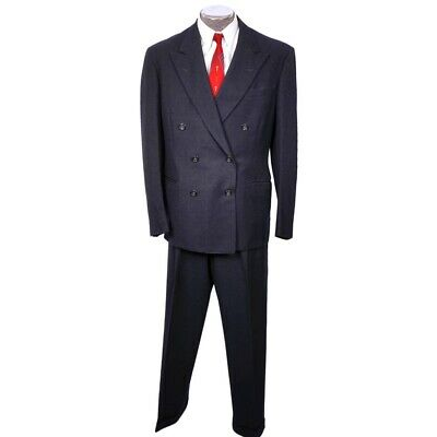 Vintage 1950s Mens Suit Blue Gab Wool Dated 1954 Size L 42 Tall