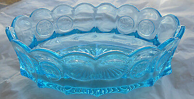 Vintage Fostoria Ice Blue Glass Oval Coin Candy Dish c1958-1972