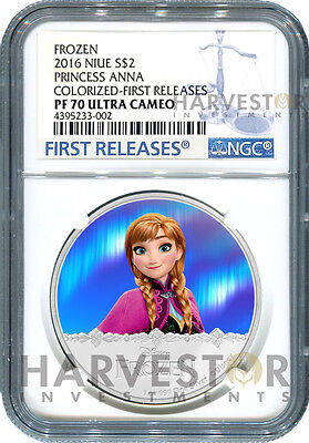 2016 Silver Disney Frozen Series - Anna - Ngc Pf70 First Releases W/ogp - Second