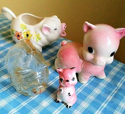 Vintage 50's Little Pig Collection, Lot Of Four- Piggy Bank, Figurines & Pitcher