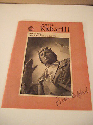 1983 playbill Richard II signed Brian Bedford Stratford Theater Stratford Ont.