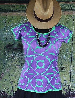 Hand Embroidered Lime Green & Purple Huipil Jalapa Oaxaca Mexico Hippie Cowgirl