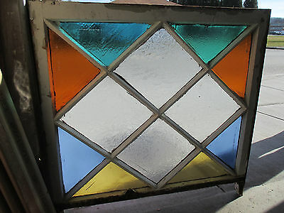 Antique American Stained Glass Window 36X35 Queen Anne ~ Architectural Salvage ~