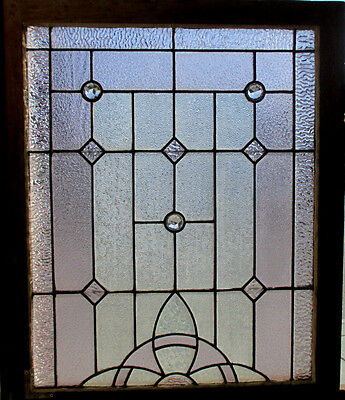 ANTIQUE AMERICAN STAINED GLASS WINDOW 28 x 33  ~ ARCHITECTURAL SALVAGE ~