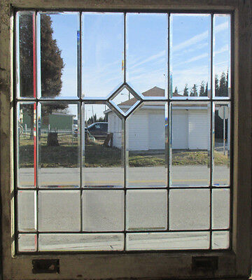 ANTIQUE AMERICAN FULL BEVELED LEADED GLASS WINDOW 31 x 34  ~ SALVAGE ~