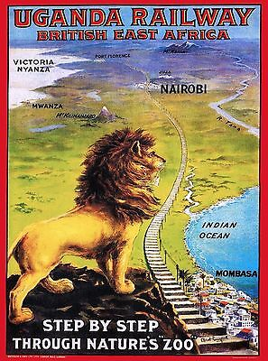 Uganda Railways Lion East Africa African Vintage Travel Advertisement Poster