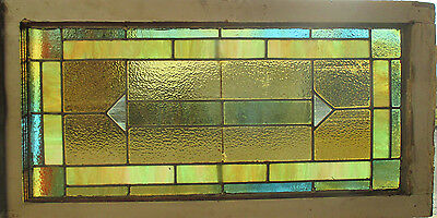 ANTIQUE AMERICAN STAINED GLASS TRANSOM WINDOW 35 x 18 ~ ARCHITECTURAL SALVAGE ~