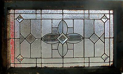 ANTIQUE AMERICAN STAINED GLASS TRANSOM WINDOW 36 x 22 ~ ARCHITECTURAL SALVAGE ~