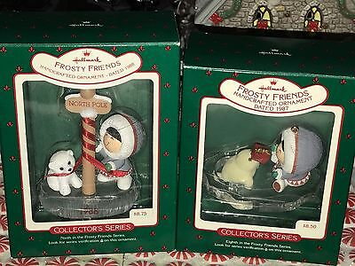 2 HALLMARK FROSTY FRIENDS Ornaments 1987 & 1988 W/BOXES 8th & 9th in Series