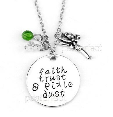 """FAITH TRUST & PIXIE DUST CHARM NECKLACE w/ Tinkerbell 18"""" Disney Peter Pan Quote"""